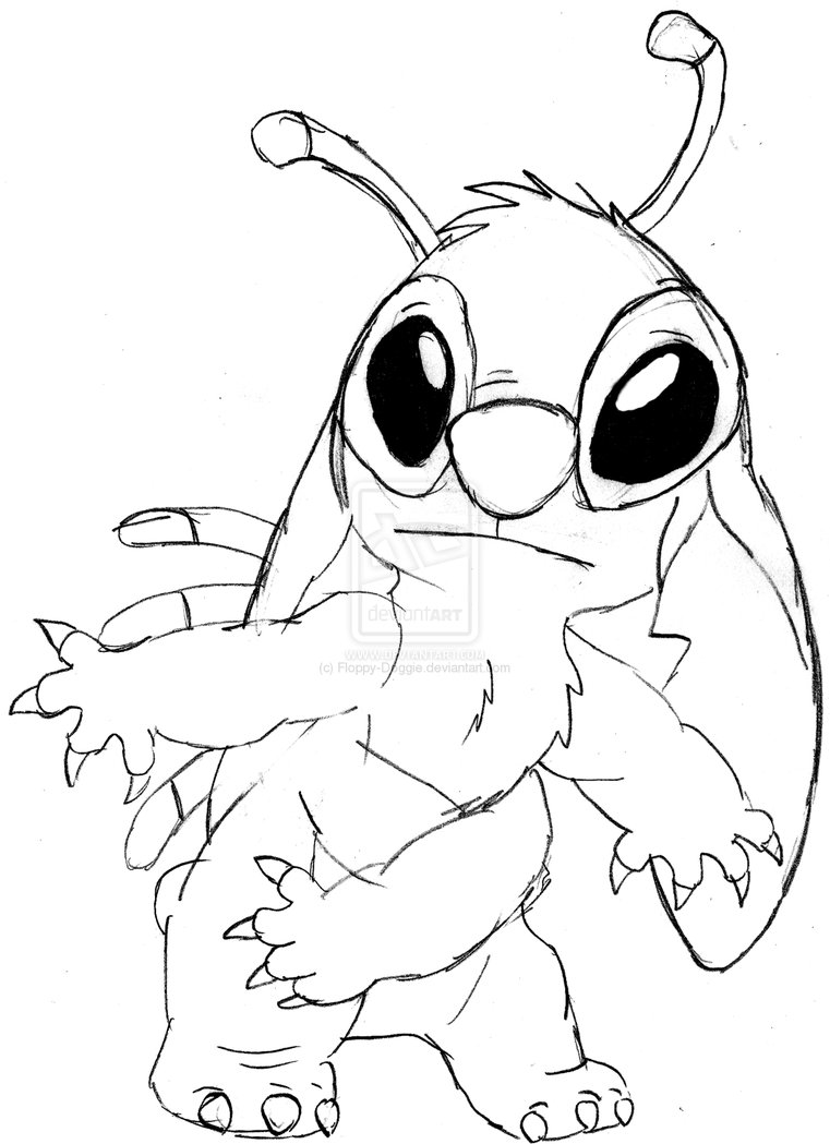 Funny free Lilo And Stich coloring page to print and color