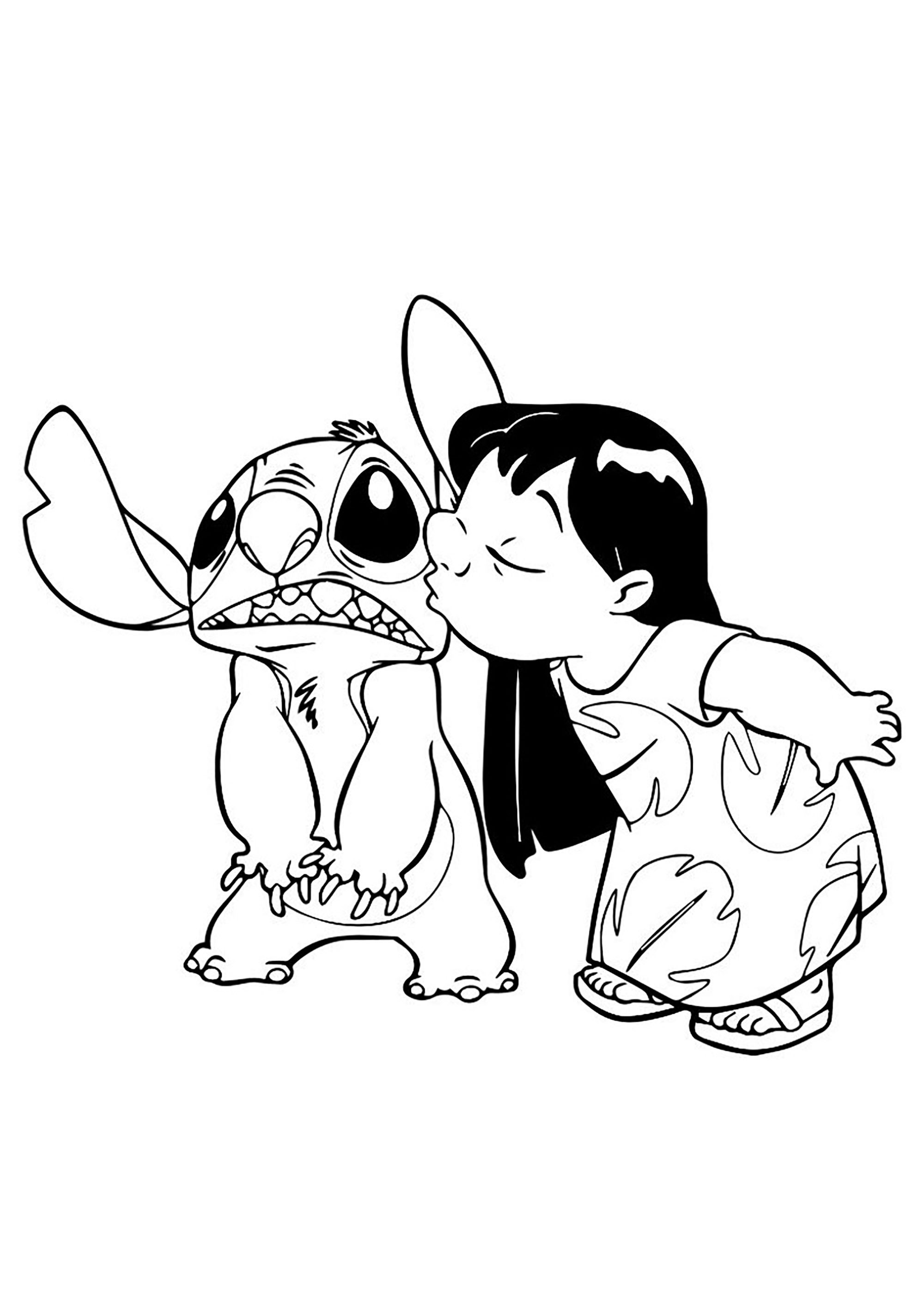 Free Lilo And Stich coloring page to print and color, for kids