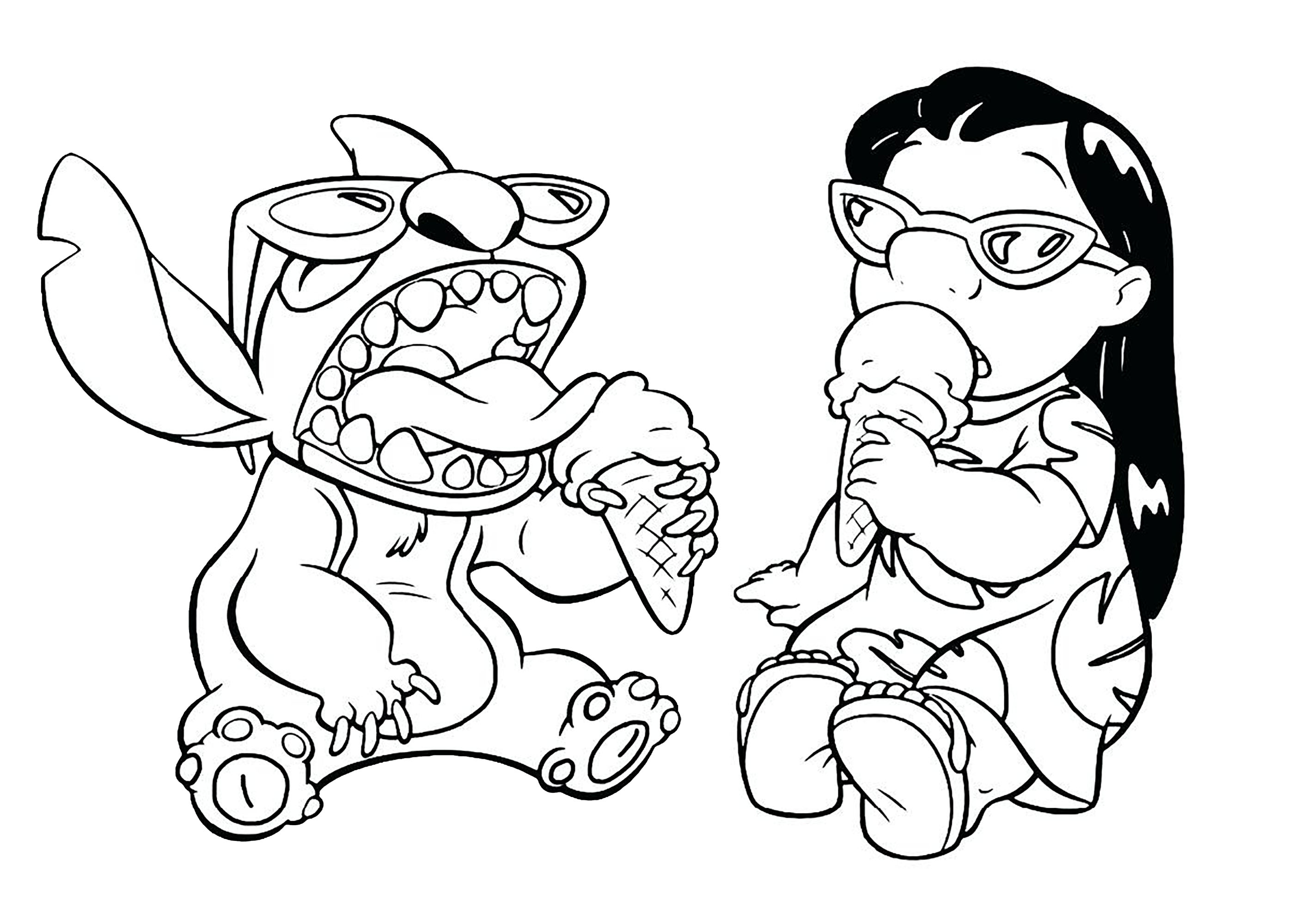 Lilo And Stitch Coloring Pages Funny Lilo And Stitch Coloring ... | 2000x2828
