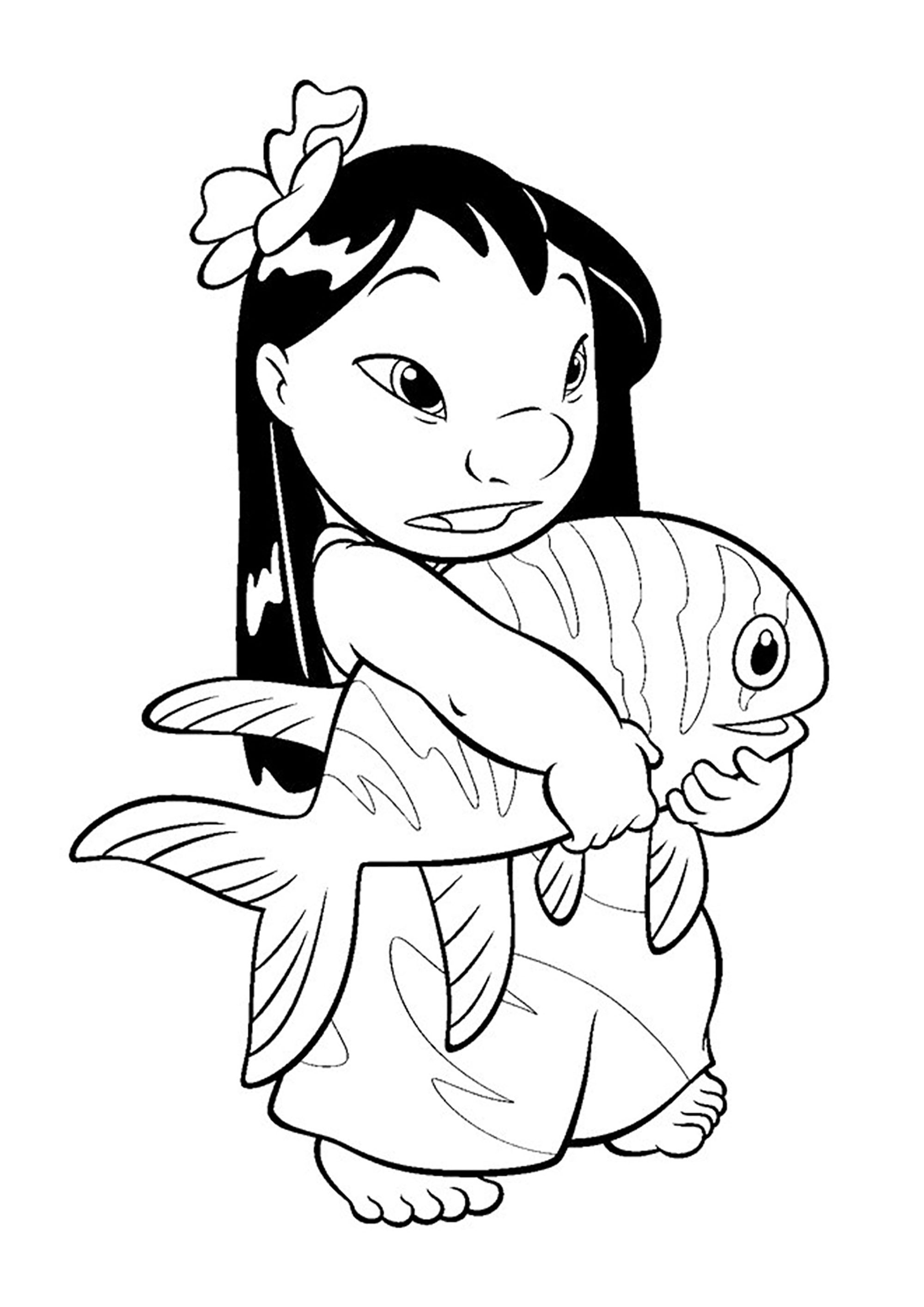 Cute free Lilo And Stich coloring page to download