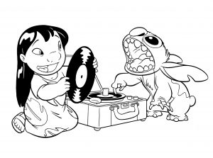 Coloring page lilo and stich to color for children