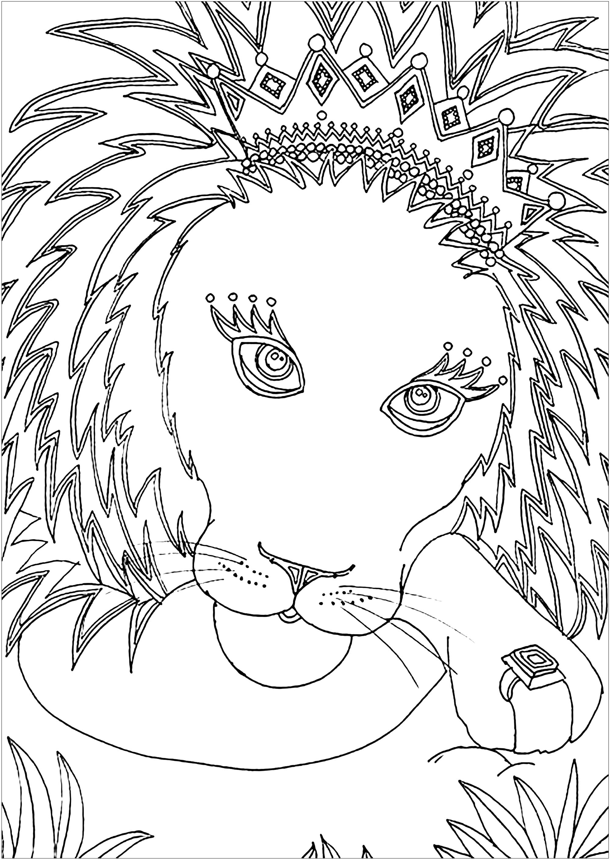 Cute free Lion coloring page to download