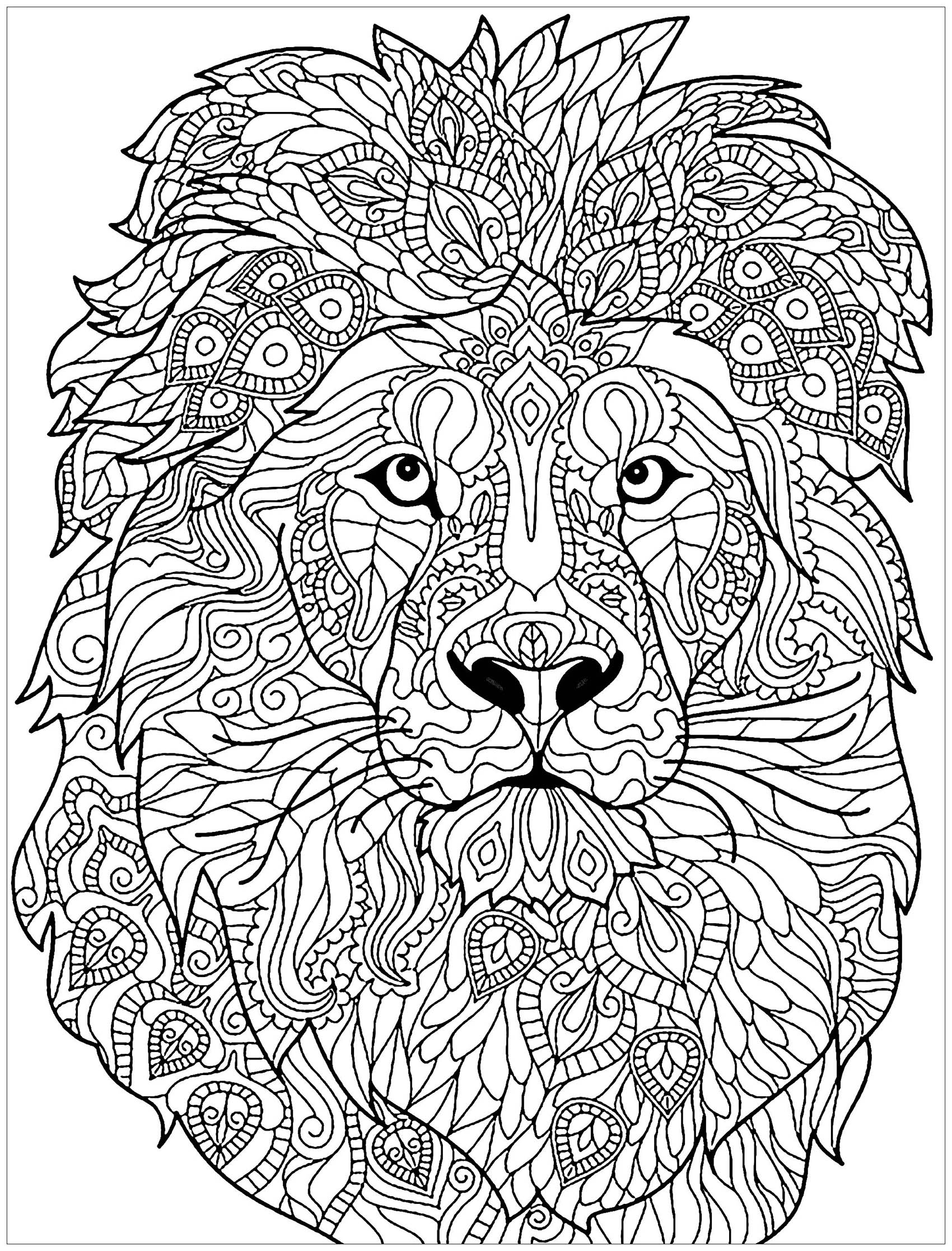 Lion free to color for kids Lion