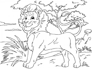 Coloring page lion to color for kids