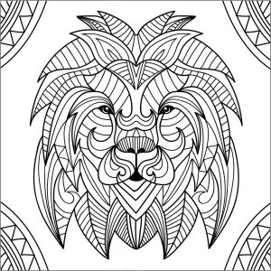 Coloring page lion for kids