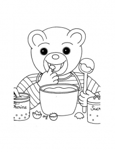 Coloring page little brown bear to download