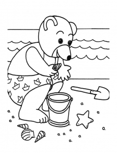 Coloring page little brown bear free to color for children