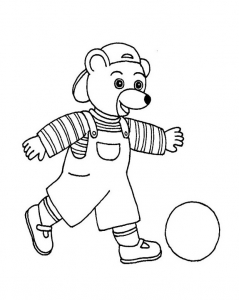 Coloring page little brown bear to print