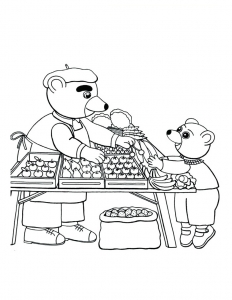 Coloring page little brown bear to color for children