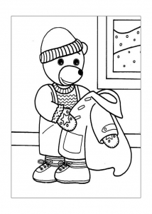Coloring page little brown bear for kids