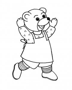 Coloring page little brown bear to color for kids