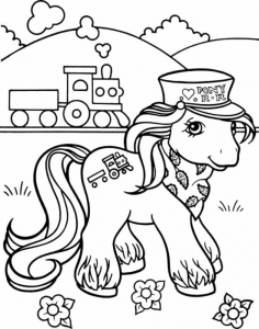Coloring page little poney free to color for children