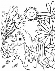 Coloring page little poney to color for kids