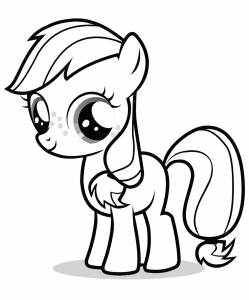 Coloring page little poney to color for children
