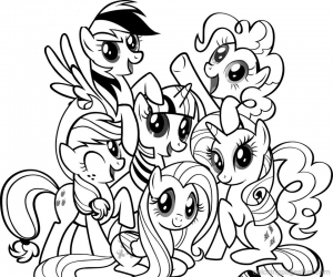 Coloring page little poney to print
