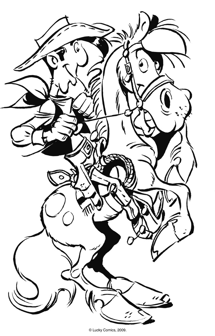 Simple Lucky Luke coloring page to download for free