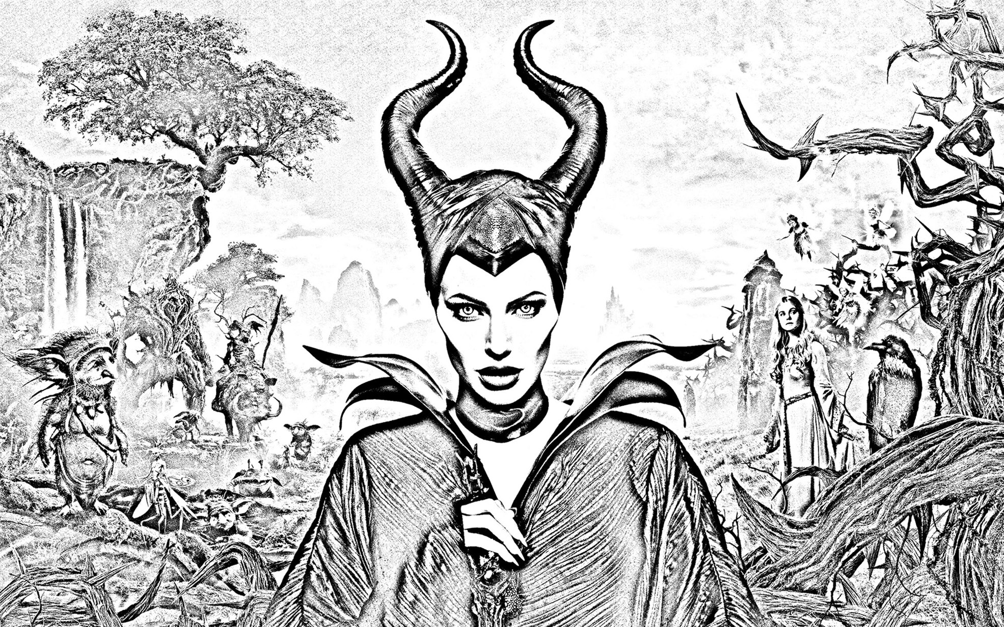 Easy free Maleficient coloring page to download