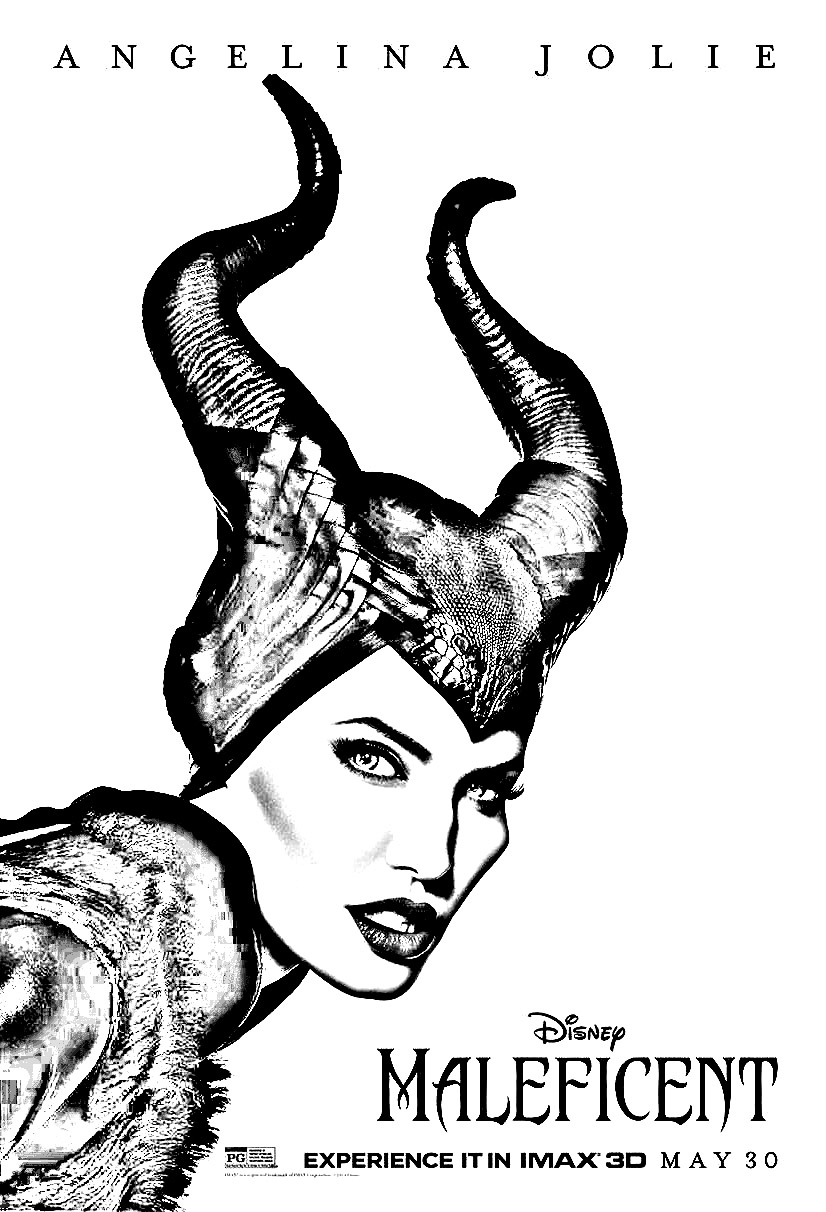 Simple Maleficient coloring page to print and color for free