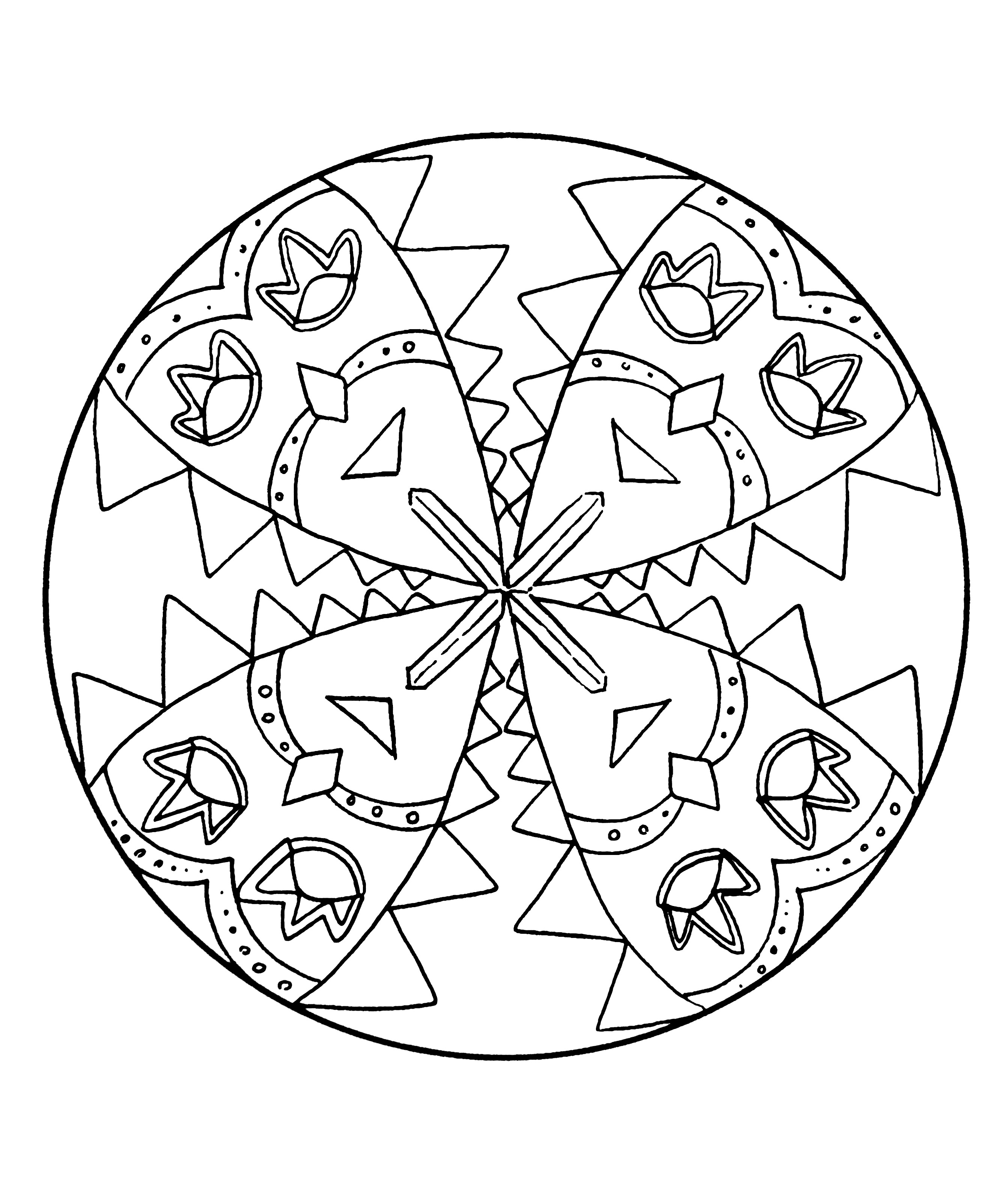 Simple Mandalas coloring page for kids