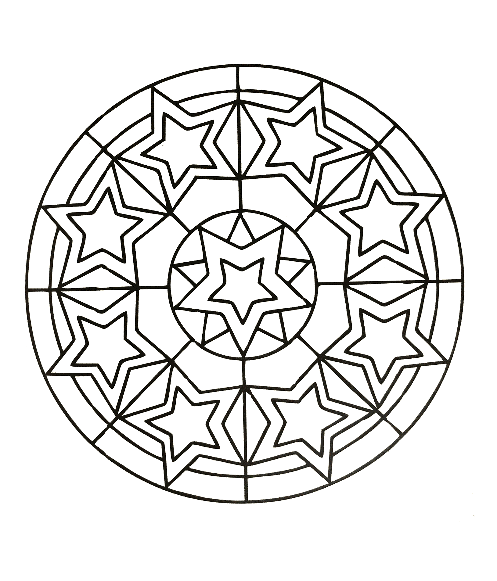 Simple Mandalas coloring page for children