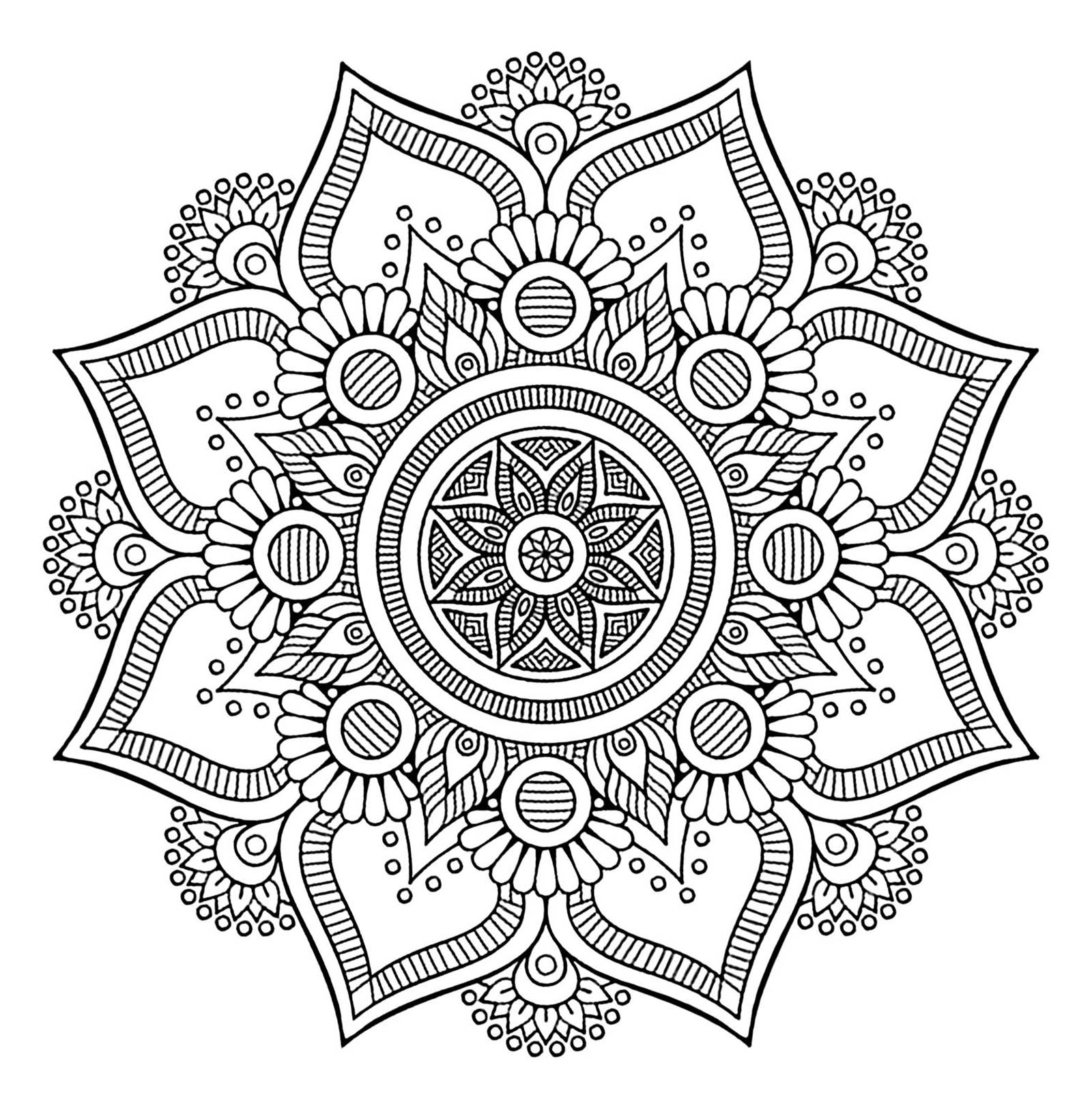 Cute free Mandalas coloring page to download