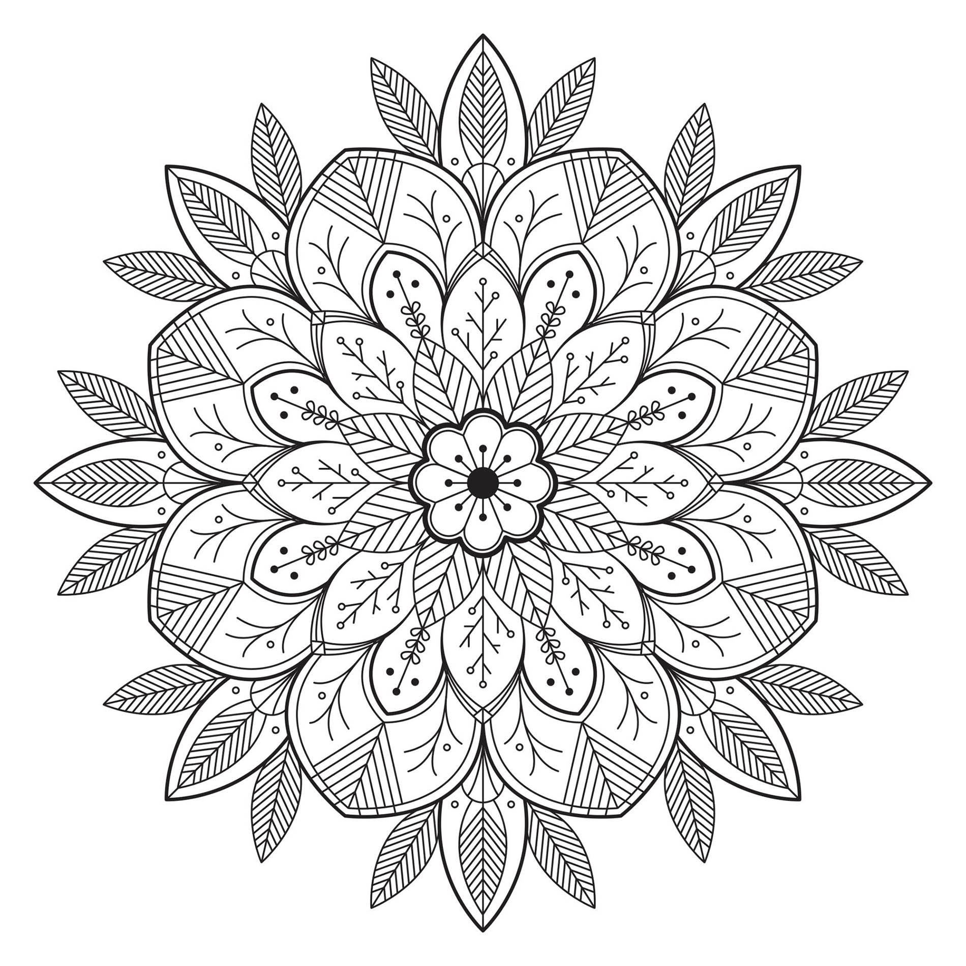 Free Mandalas coloring page to print and color, for kids