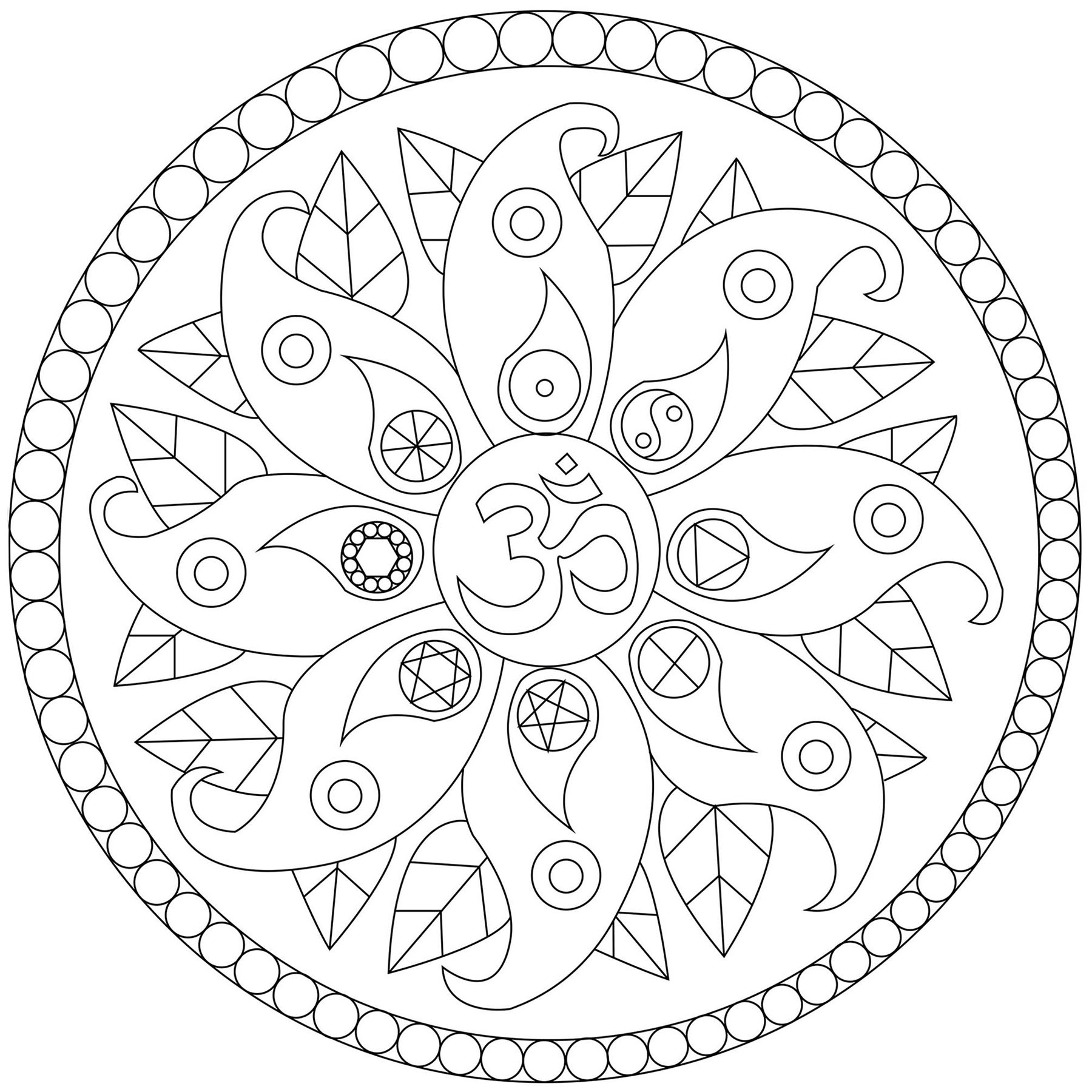Easy free Mandalas coloring page to download