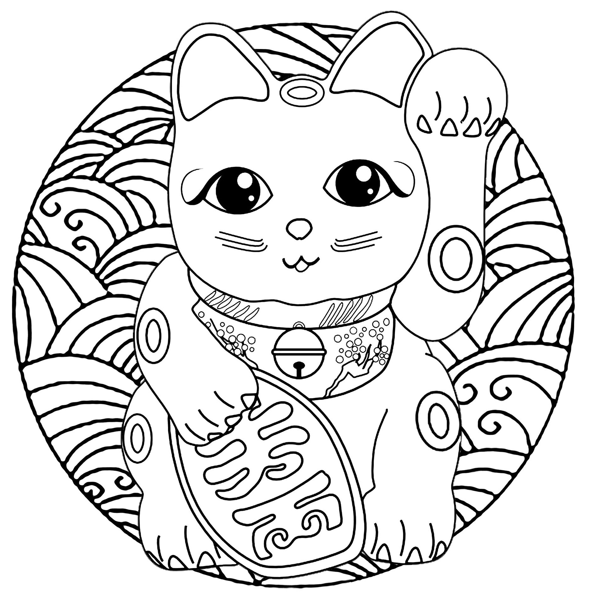 Funny free Maneki Neko coloring page to print and color