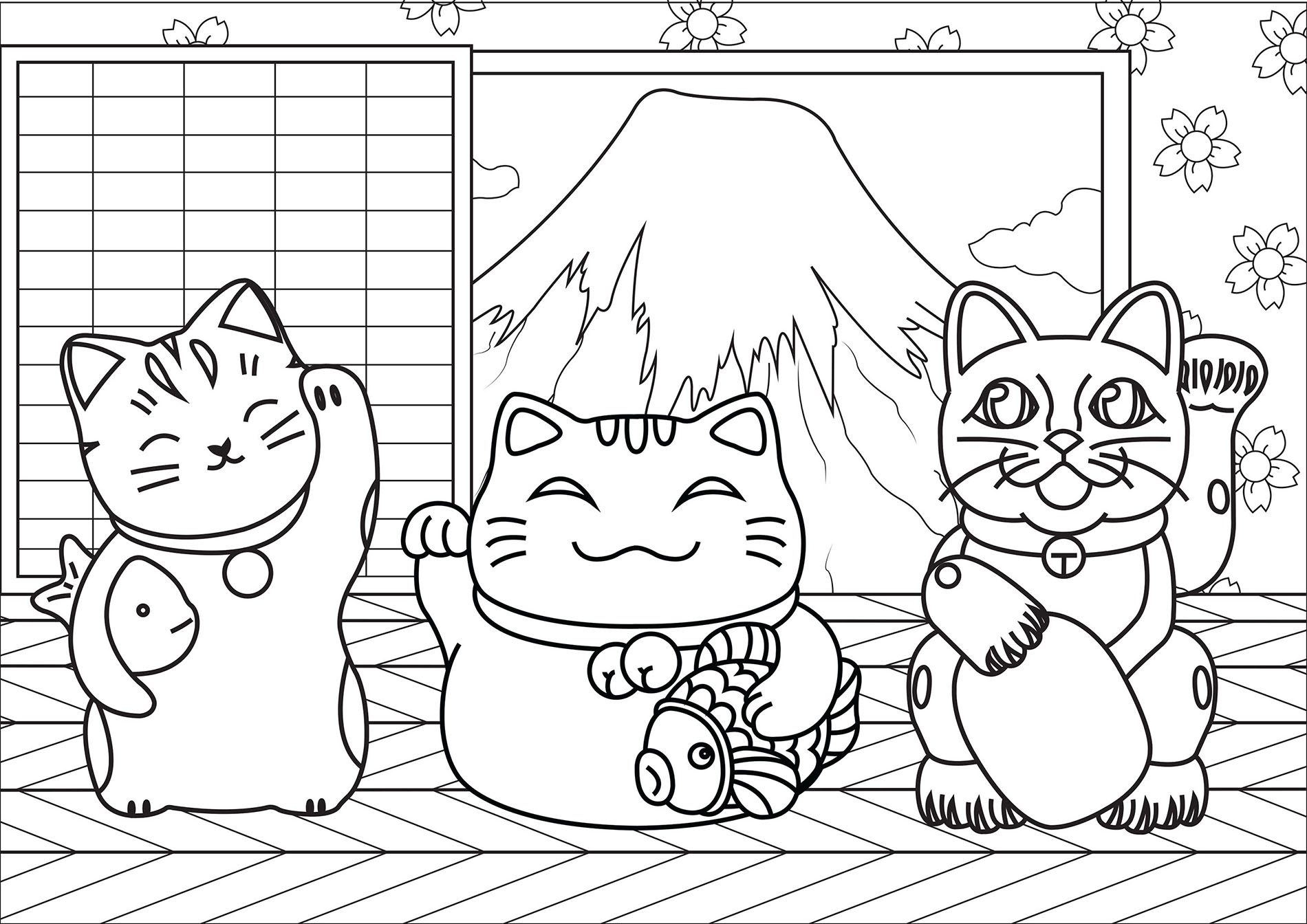 Simple Maneki Neko coloring page to download for free