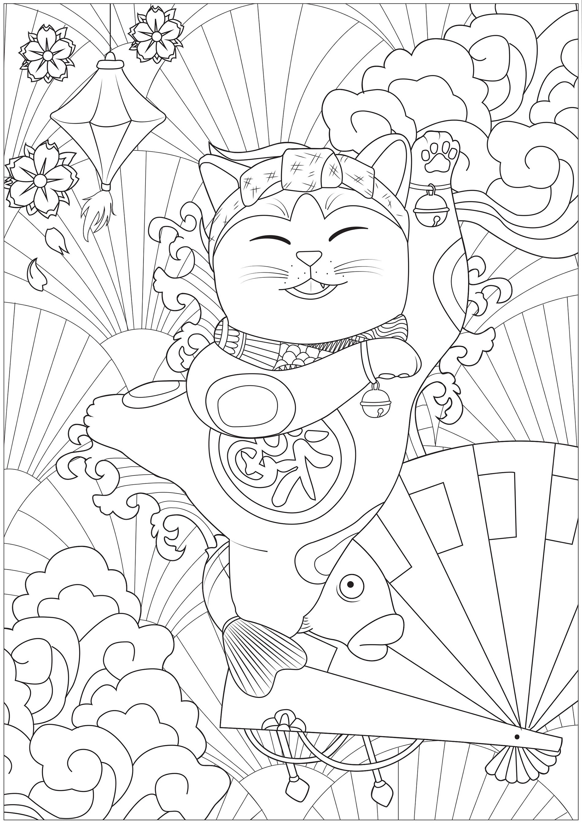 Simple Maneki Neko coloring page for kids