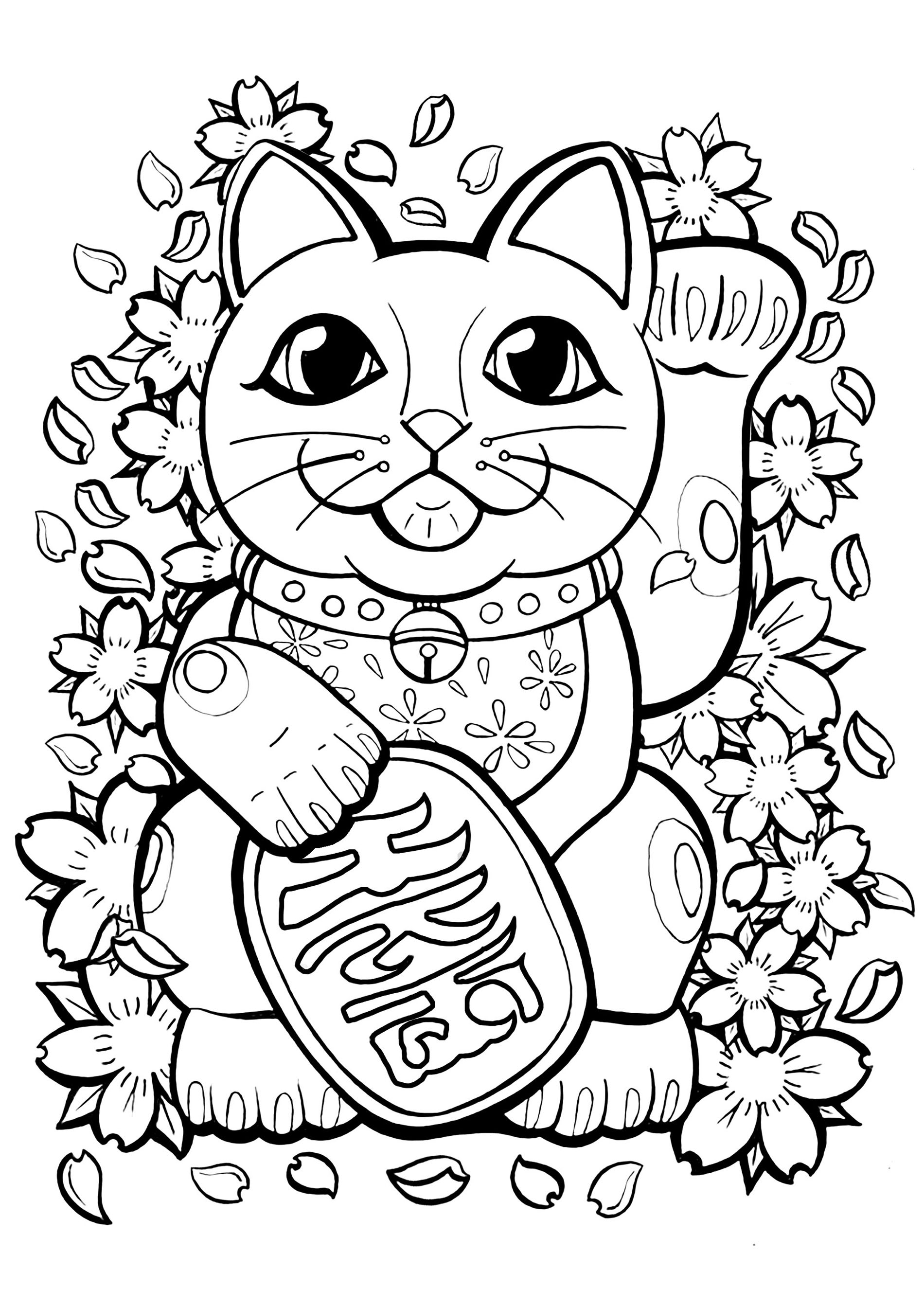 Beautiful Maneki Neko coloring page to print and color