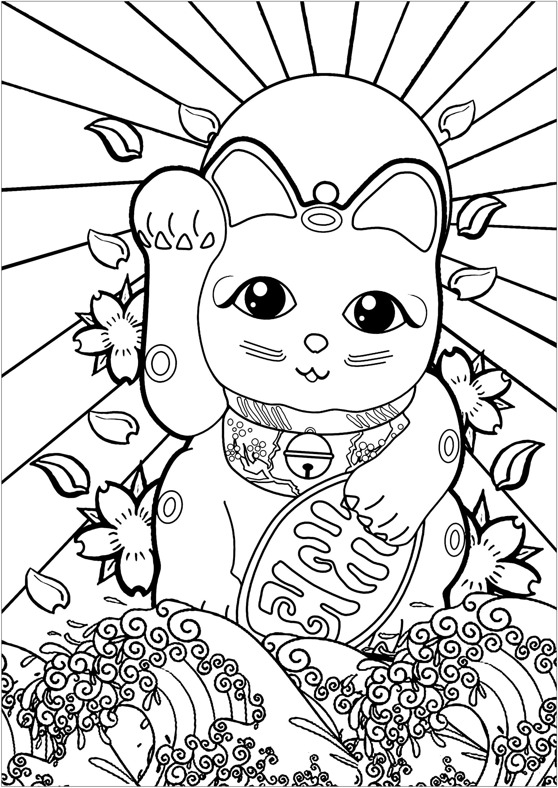 Free Maneki Neko coloring page to download