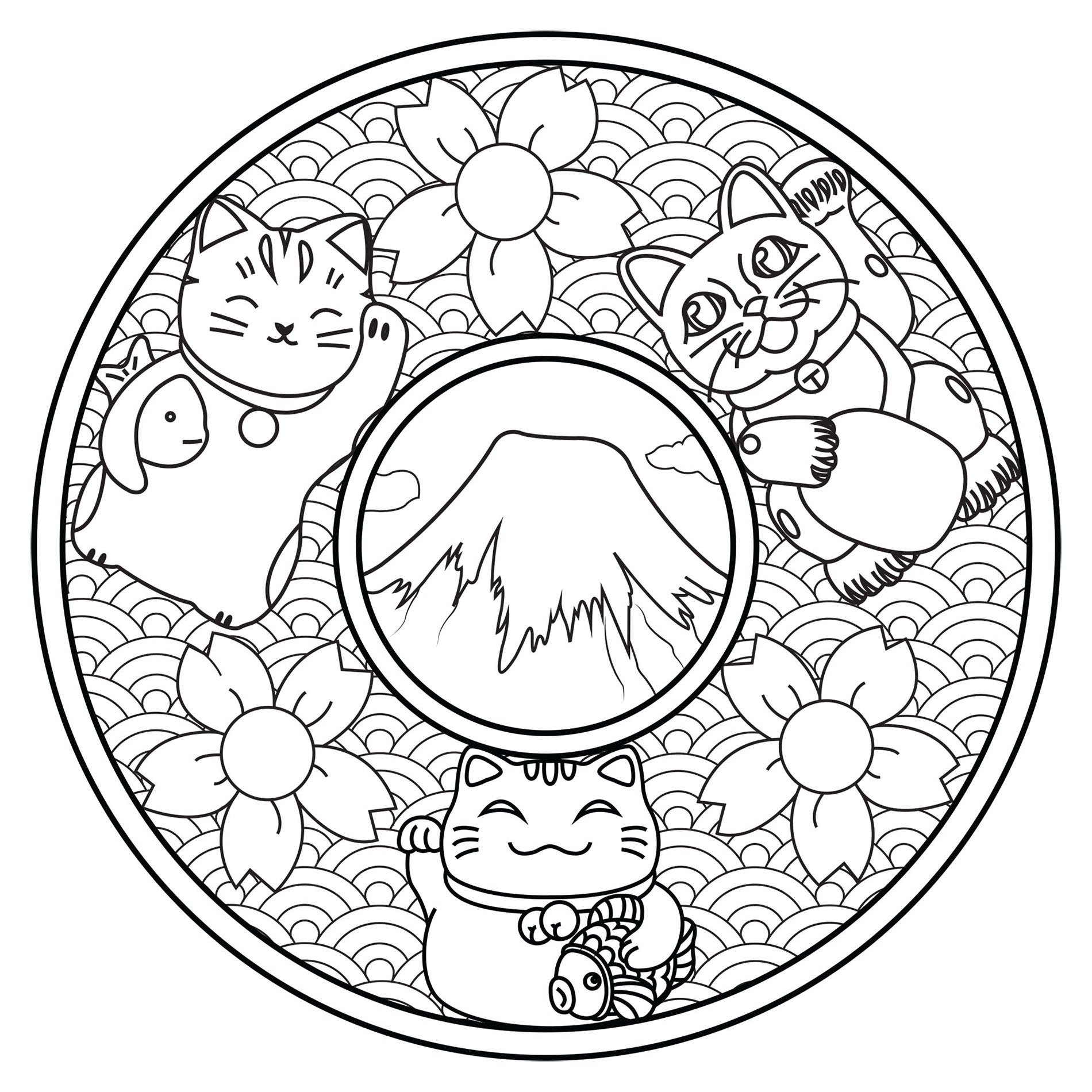 Maneki Neko coloring page to download
