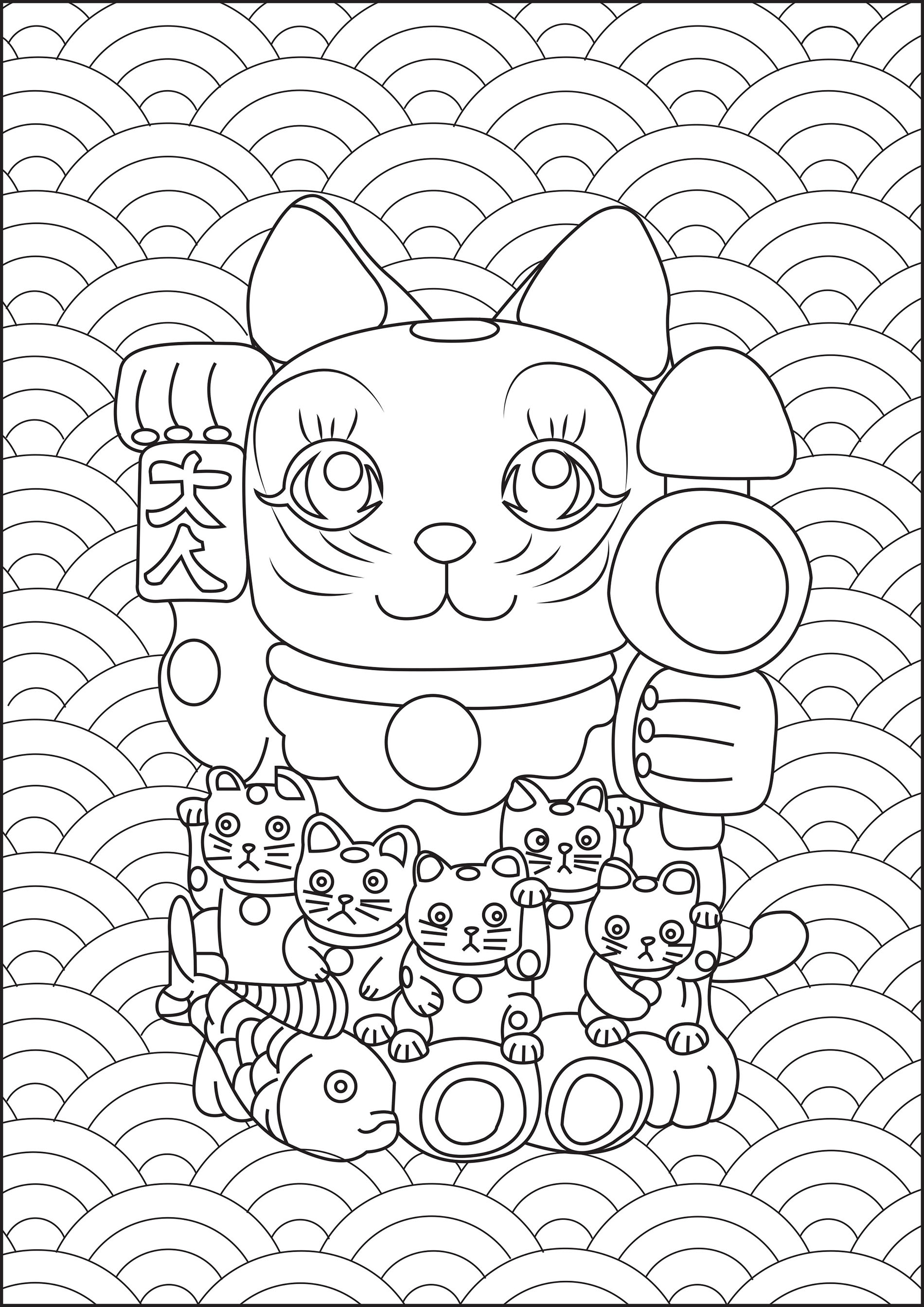 Free Maneki Neko coloring page to print and color, for kids