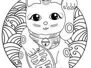 Maneki Neko Coloring Pages for Kids