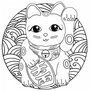 Coloring page maneki neko for kids