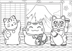 Coloring page maneki neko for children