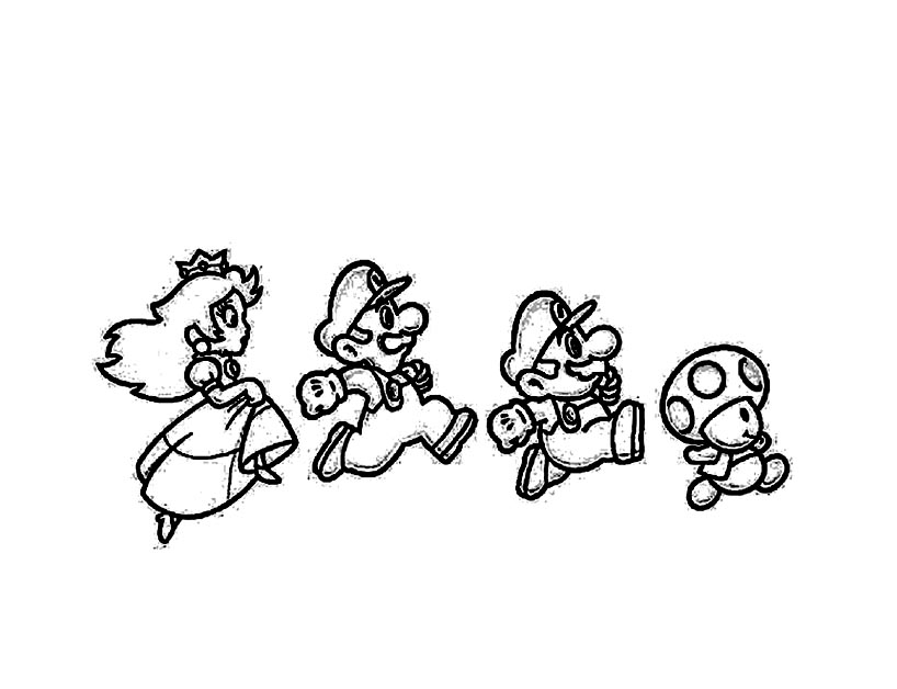 Mario Luigi Toad And The Princess Mario Bros Kids Coloring Pages