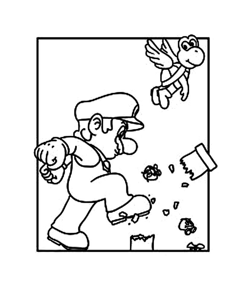 Funny Mario Bros coloring page for kids : Mario
