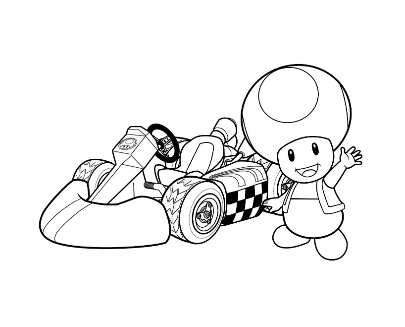 Funny Mario Bros coloring page for children : Toad and cart