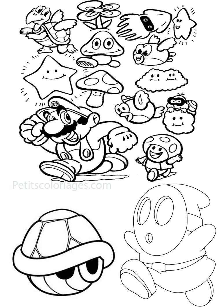 Simple Mario Bros coloring page for kids : Mario bonus and monster in the games