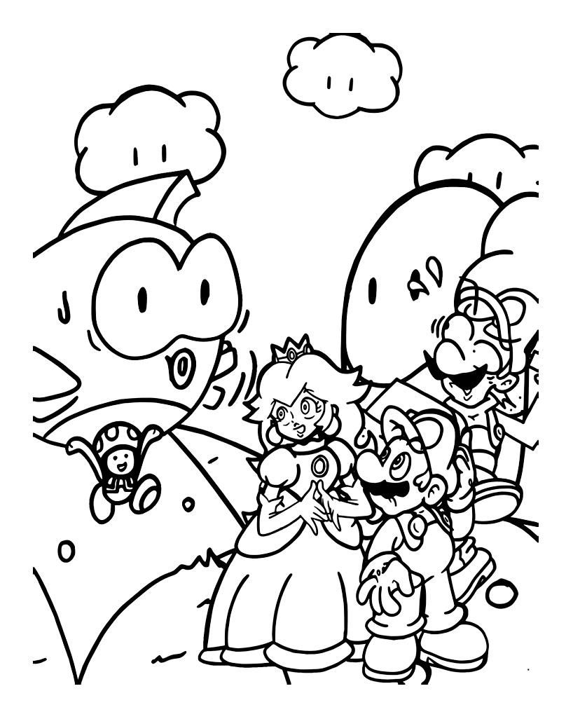Mario With Princess And Luigi Mario Bros Kids Coloring Pages