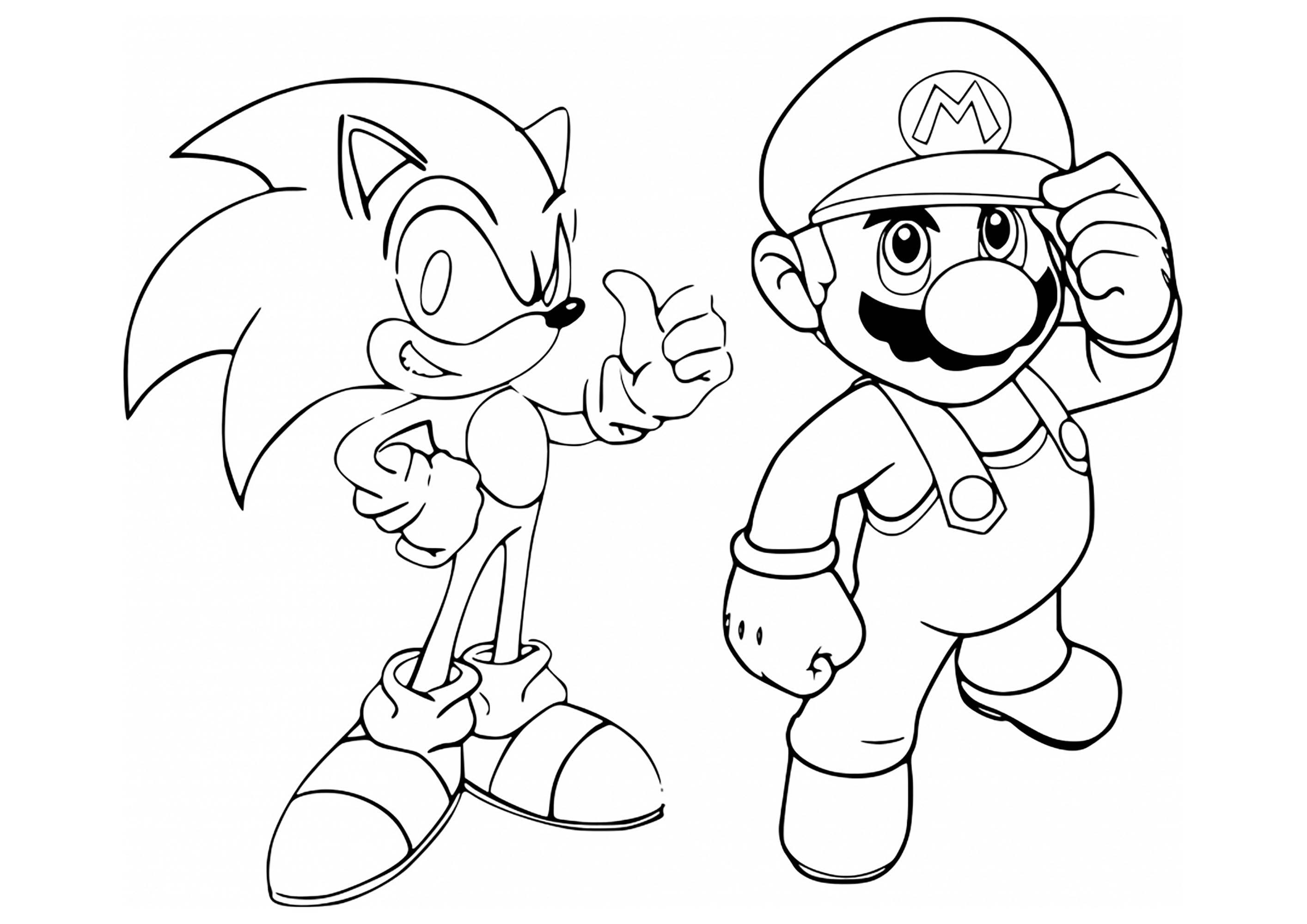 It is a picture of Monster Mario And Sonic Coloring Pages