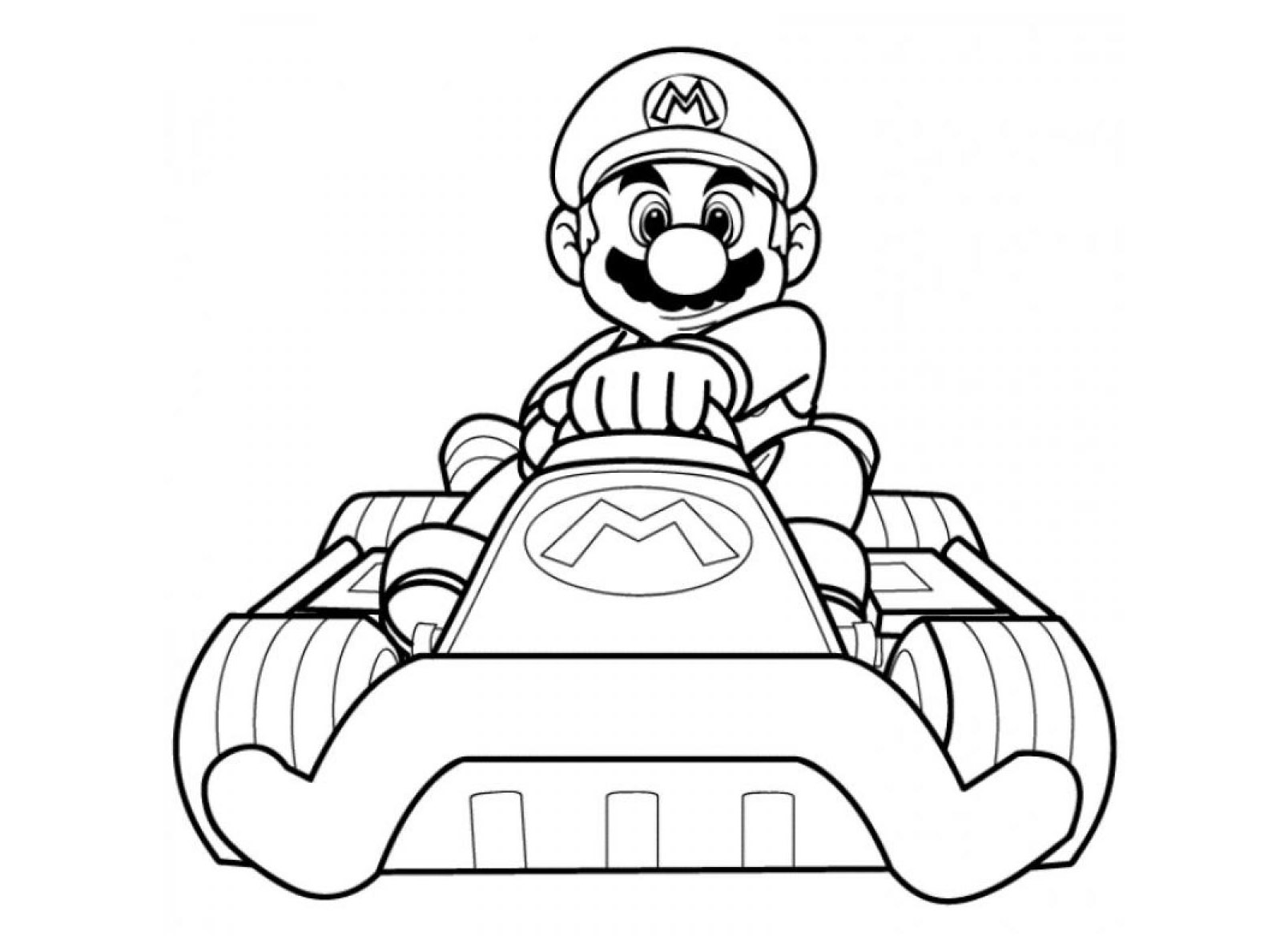 Simple Mario Kart coloring page to print and color for free