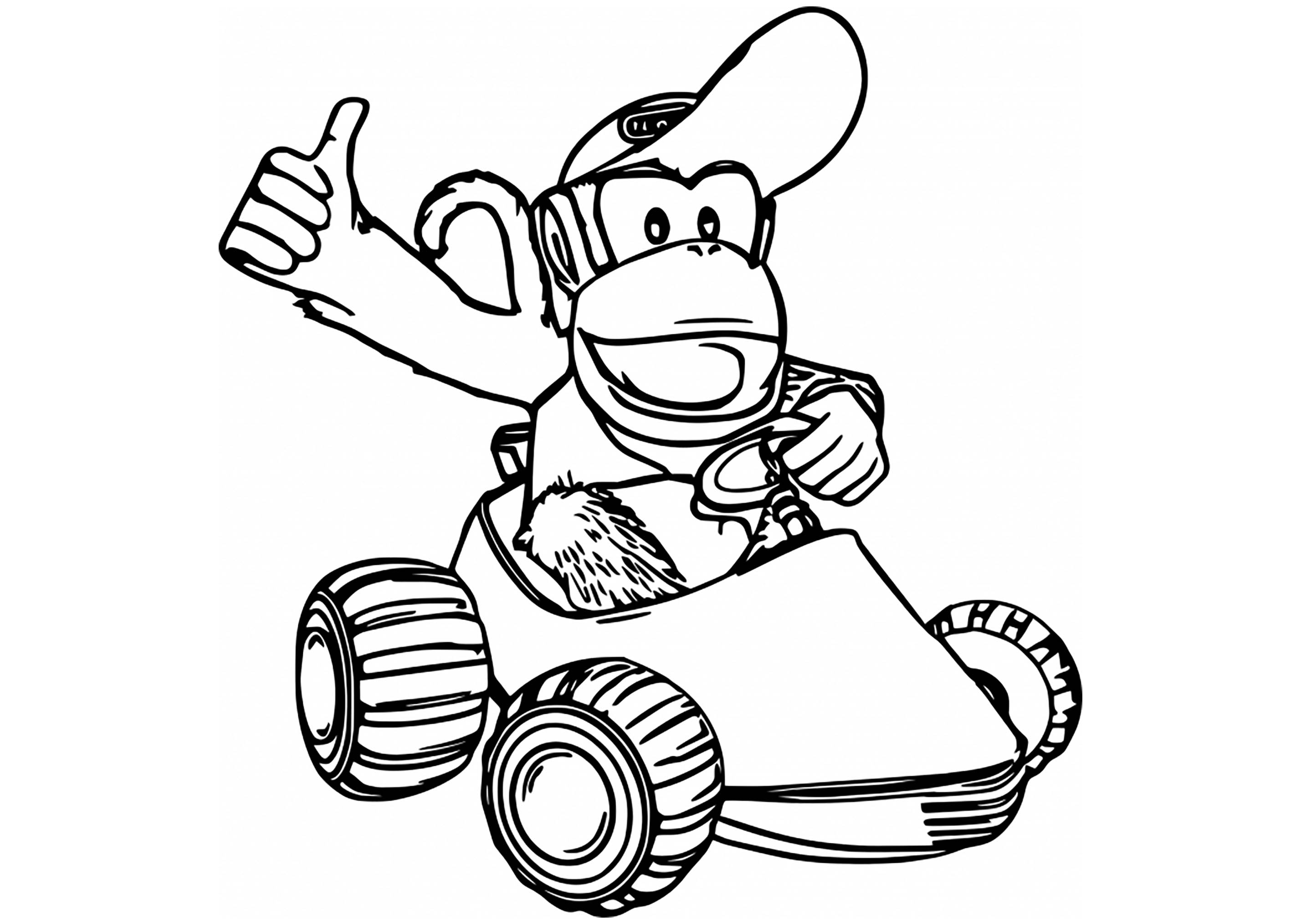 Diddy kong kart mario kart kids coloring pages - Coloriage donkey kong ...