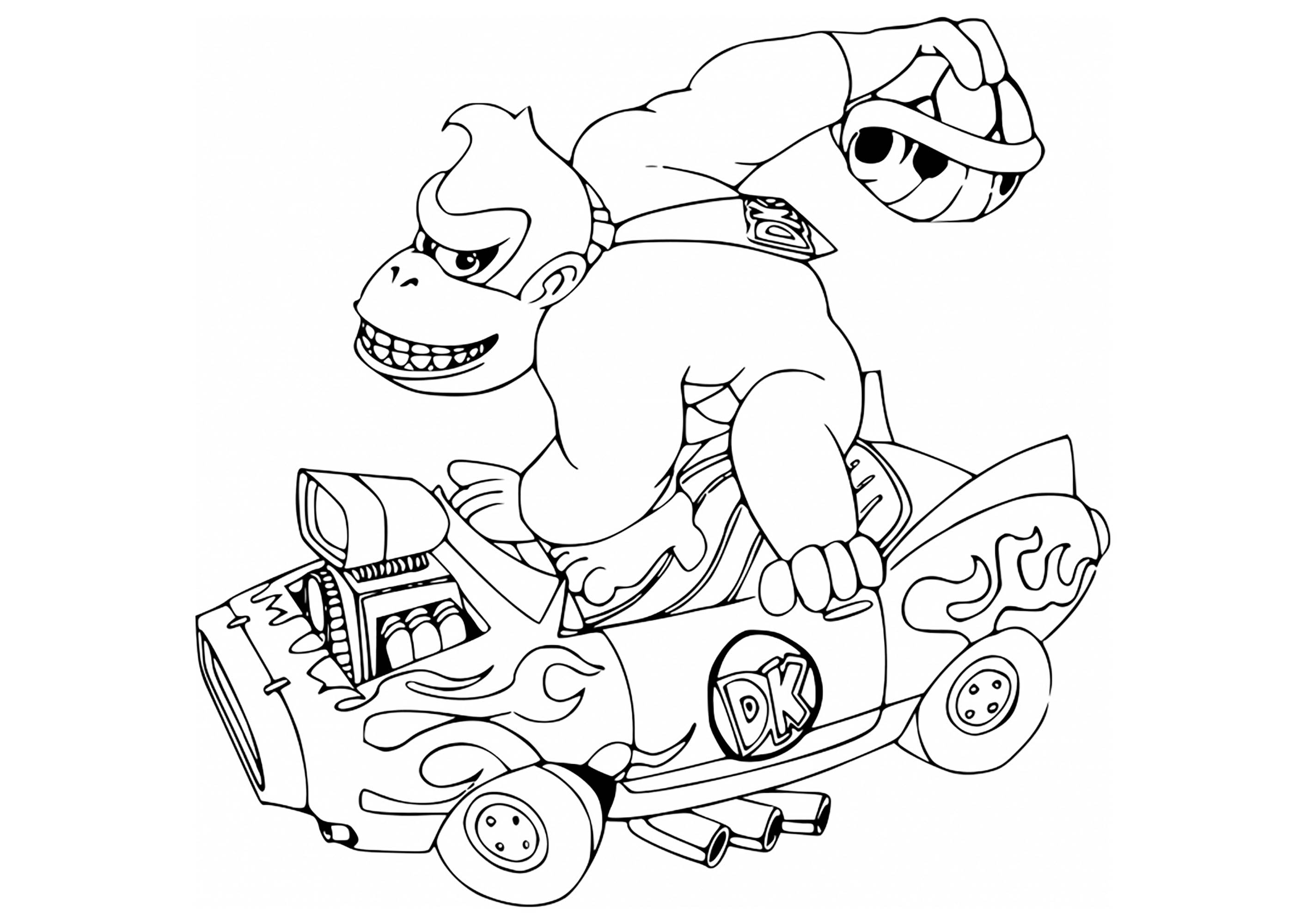 kong kart mario kart coloring pages