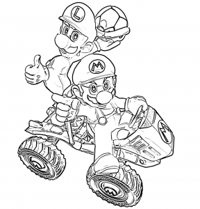 Coloring page mario kart to color for children