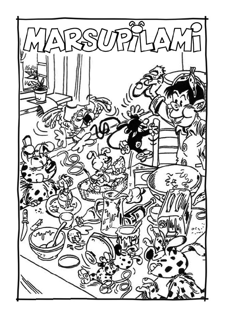 Incredible Marsupilami coloring page to print and color for free