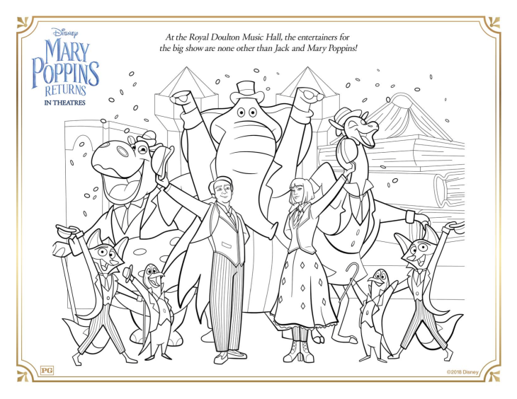 Funny Mary Poppins returns coloring page