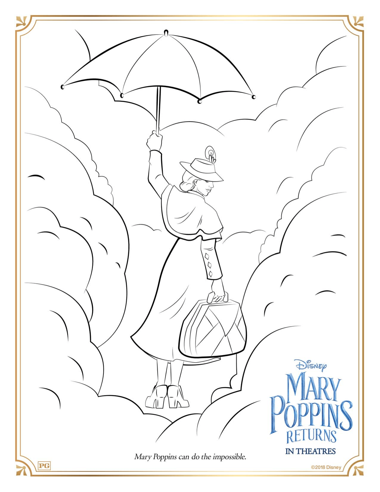 Funny Mary Poppins returns coloring page for children